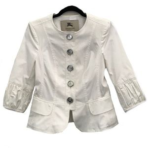 Burberry White Button Up 3/4 Sleeve Blazer Jacket